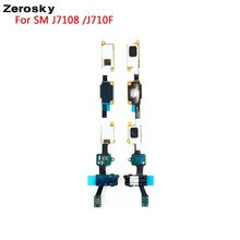 High Quality Home Button Earphone Audio Jack Headphone Flex Cable For Samsung Galaxy J7 J710F 2016 Replacement Parts