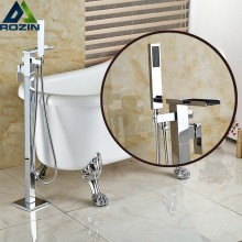Single Handle Chrome Bathtub Faucet Free Standing Floor Mount Bathroom Tub Shower Mixer Taps with Handshower