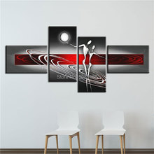 100% Handmade Home couple Oil Painting red gray Canvas Art lover Artwork Living Room Decoration Wall