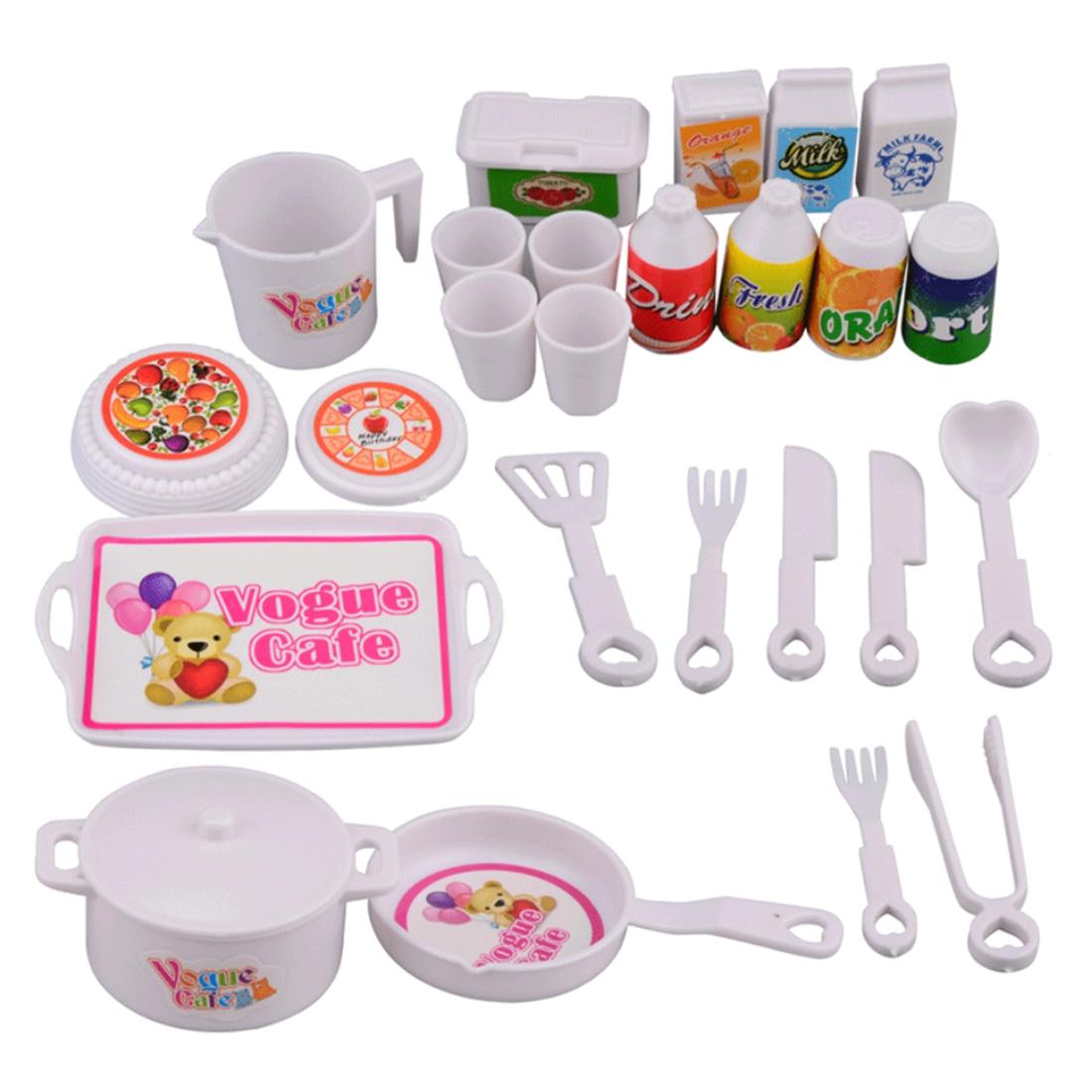 25Pcs Children Miniature Girls Mini Kitchen Toy Dish Set Pretend Play SimulationTableware Set Kids Cutlery Boys Education Skill