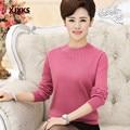 Suéter 2016 nuevas mujeres de los suéteres y jerseys suéter de manga larga jersey de las mujeres más tamaño ropa de la madre suéter básico de la camisa