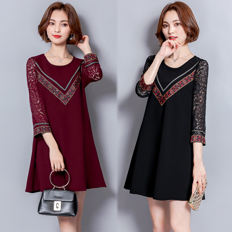 free shipping Korean style new women autumn winter long sleeve lace patchwork dress plus size loose 7-point sleeve dress CSWD011