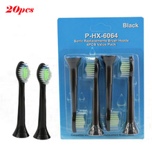 20pcs Best Electric Sonic Replacement Brush Head For Philips Sonicare Toothbrush Heads Black Diamond Clean Soft Bristles HX6064