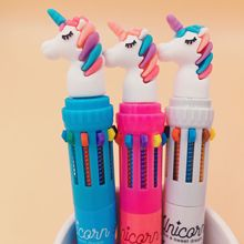 36pcs/lot Unicorn cartoon ball pen, 2018 new silicone head unicorn 10 color ballpoint Korean multicolored pen.