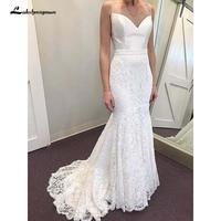 Elegant Mermaid Sweetheart Spaghetti Straps Ivory Satin Lace Wedding Dresses Vintage Wedding Gown