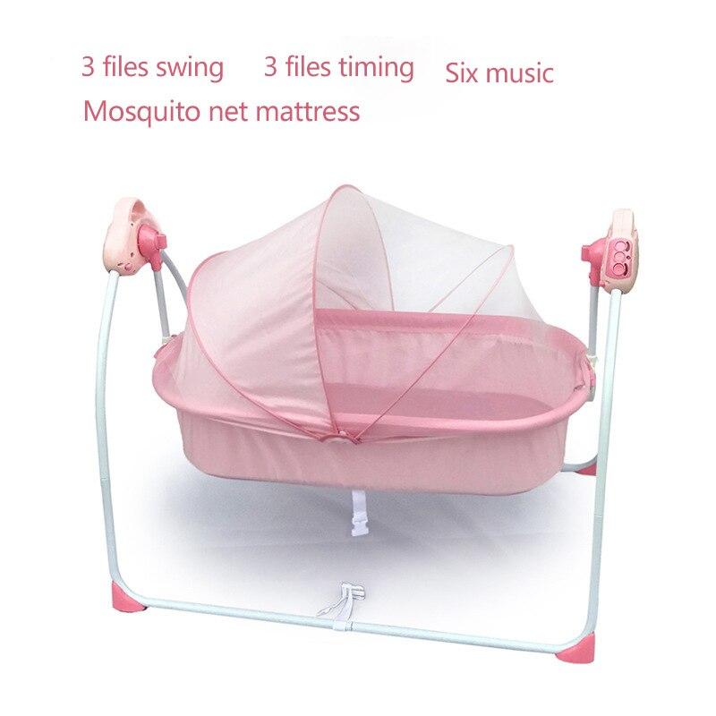 Pliable Portable bébé berceau électrique bébé Shaker lit nouveau-né endormi plat poser berceau berceau multi-range réglage 0-18 M