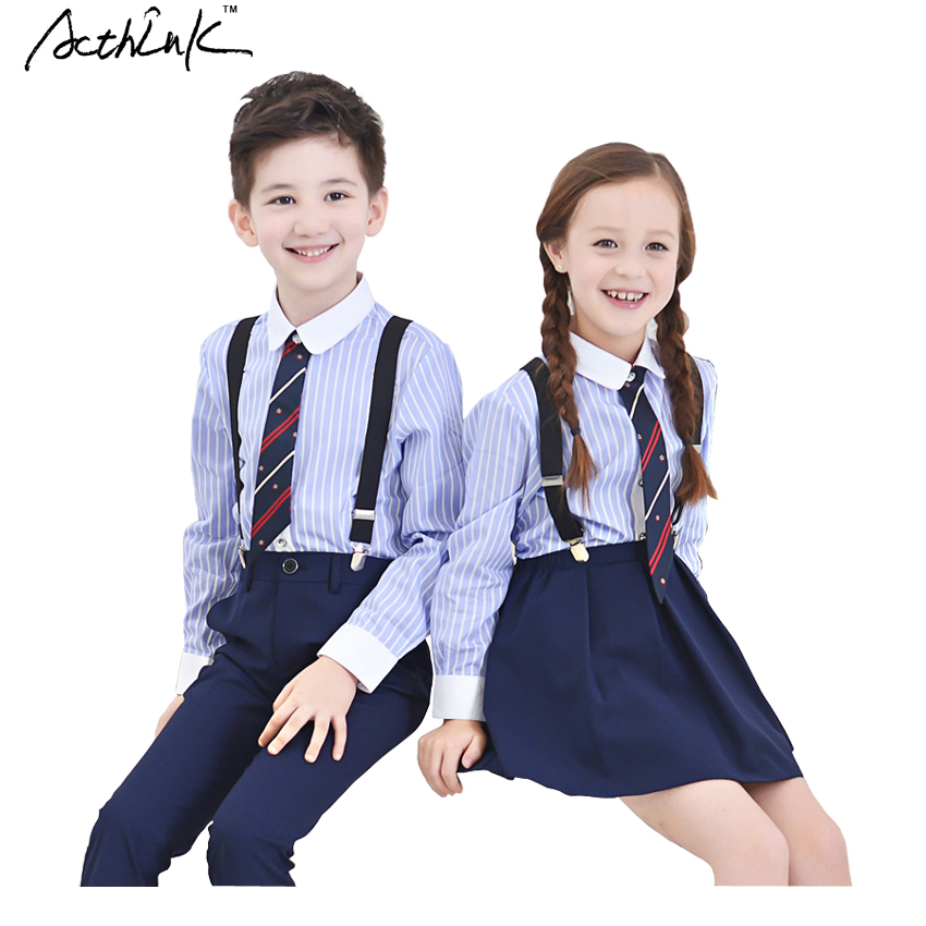 ActhInK 2016 New Child Striped School Uniform for Boys and Pretty Style Girls Students Blue Dress with Shirt Kids Uniform, C293