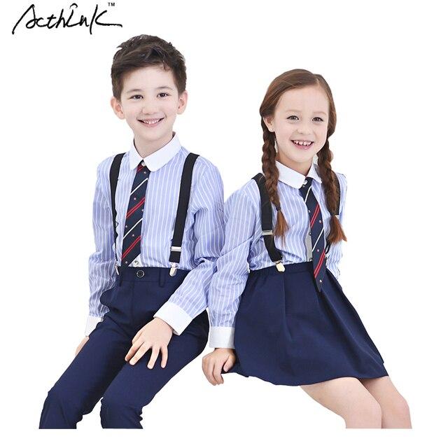 761f50930a53c6 € 16.39 10% de réduction|ActhInK 2016 nouvel uniforme d'école rayé pour  garçons et jolies filles Style étudiants robe bleue avec chemise ...