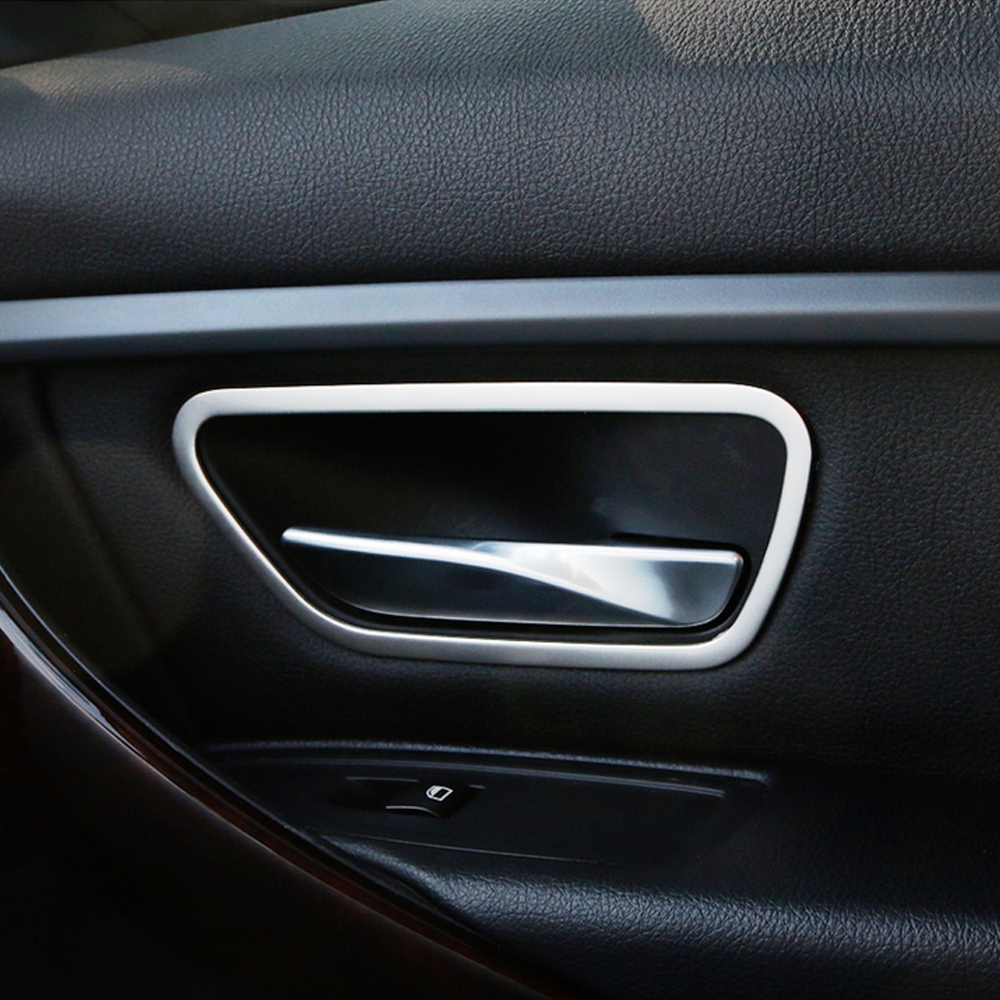 stainless steel interior door handle frame cover trim car accessories fit for 3 series f30 f34. Black Bedroom Furniture Sets. Home Design Ideas