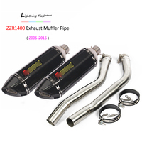 2006 2016 ZZR1400 Exhaust Pipe for Kawasaki Motorcycle Mid Middle Pipe Slip On 51 mm Exhaust Muffler Tail Escape ZX14R Ninja L R