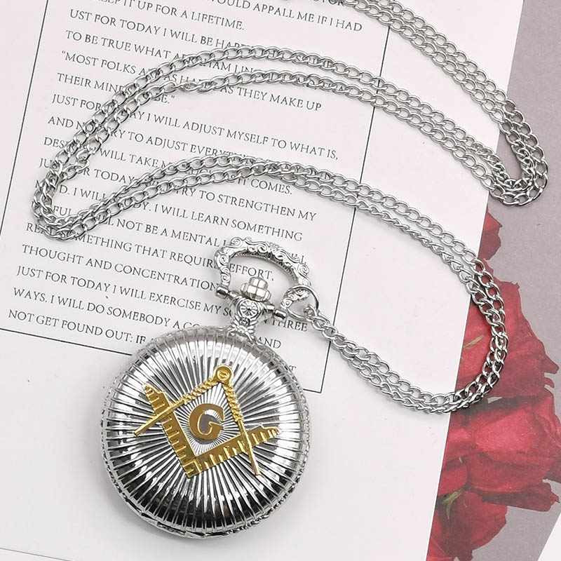 Fashion Silver Quartz Pocket Watch & Fob Watch Necklace Pendent Pocket & Fob Watches With Chain Men Women Clock Watch