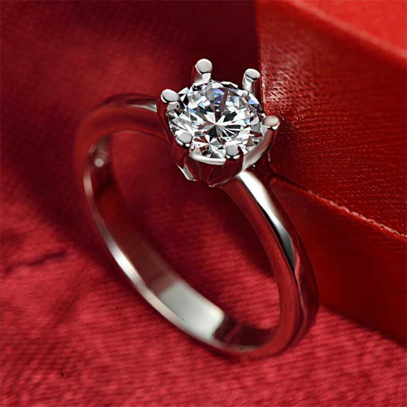 Ataullah 6 Prongs 1 กะรัต 925 เงิน SONA แหวนเพชรสำหรับผู้หญิงคุณภาพสูงเงินสเตอร์ลิงแหวนหมั้นผู้หญิง RWD855