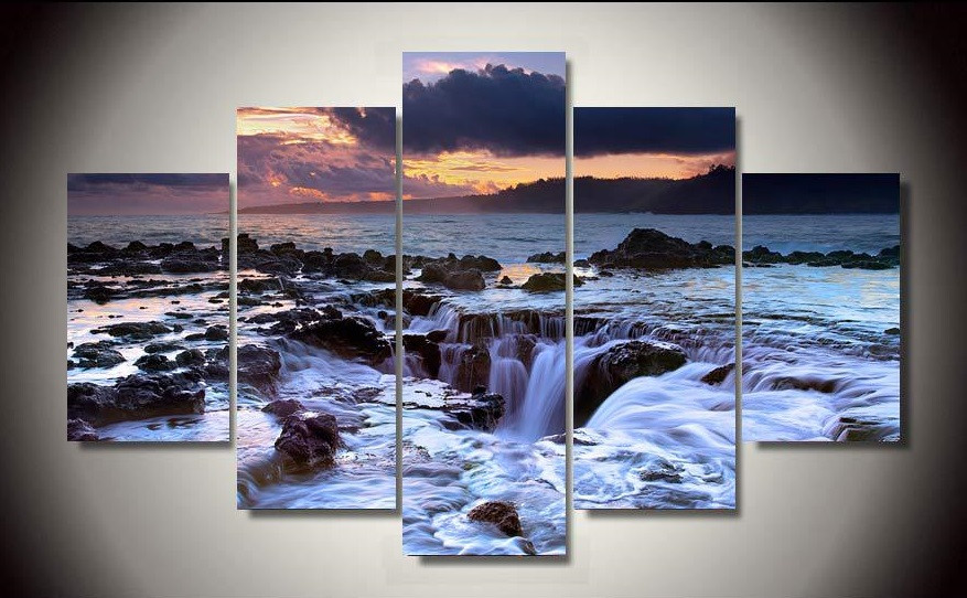framed printed beach sea 5piece picture painting wall art living room background modern home decor poster