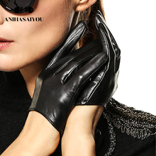 Simple fashion leather gloves women sheepskin spring and autumn thin performance street dance female - L098N