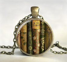 New Valentine Day Gifts Library Books Necklace Vintage Book Art Photo Jewelry Glass Pendants Link Chain Gift For Book LoversHZ1