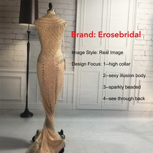 Image 5 - High Collar 2019 Mermaid Evening Dress Beaded Long Evening Gown Sexy Beading Illusion Back robe de soiree In Stock