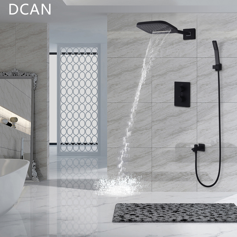 DCAN Brass Black Bathroom Rain Waterfall Shower Panel Set Thermostatic Massage System Tub Faucet with Jets & Hand Shower System ouboni new arrival bathroom rainfall shower panel rain massage system faucet with jets hand shower bathroom faucet tap mixer