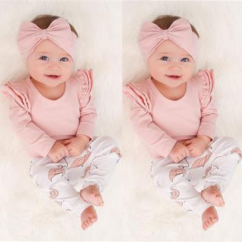Baby Girl ubrania noworodka różowy wzburzyć z długim rękawem Romper topy Flamingo drukuj spodnie i pałąk 3 sztuk maluch odzież zestaw tanie i dobre opinie HAOLINGFAN COTTON Moda O-neck Zestawy Swetry Pełna REGULAR Pasuje prawda na wymiar weź swój normalny rozmiar Czesankowej