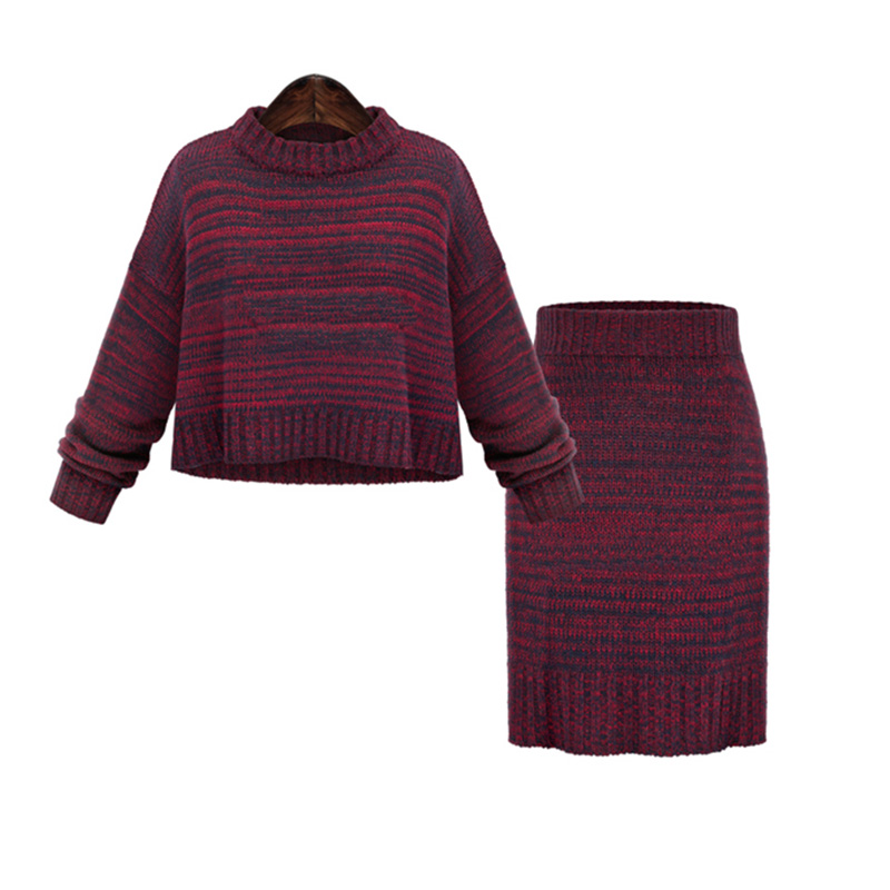 Cashmere Suit Sexy 2 Piece Set Women Cashmere Sweater Women Turtleneck Striped Sweater Women Pullover Knitted Two Piece Suits