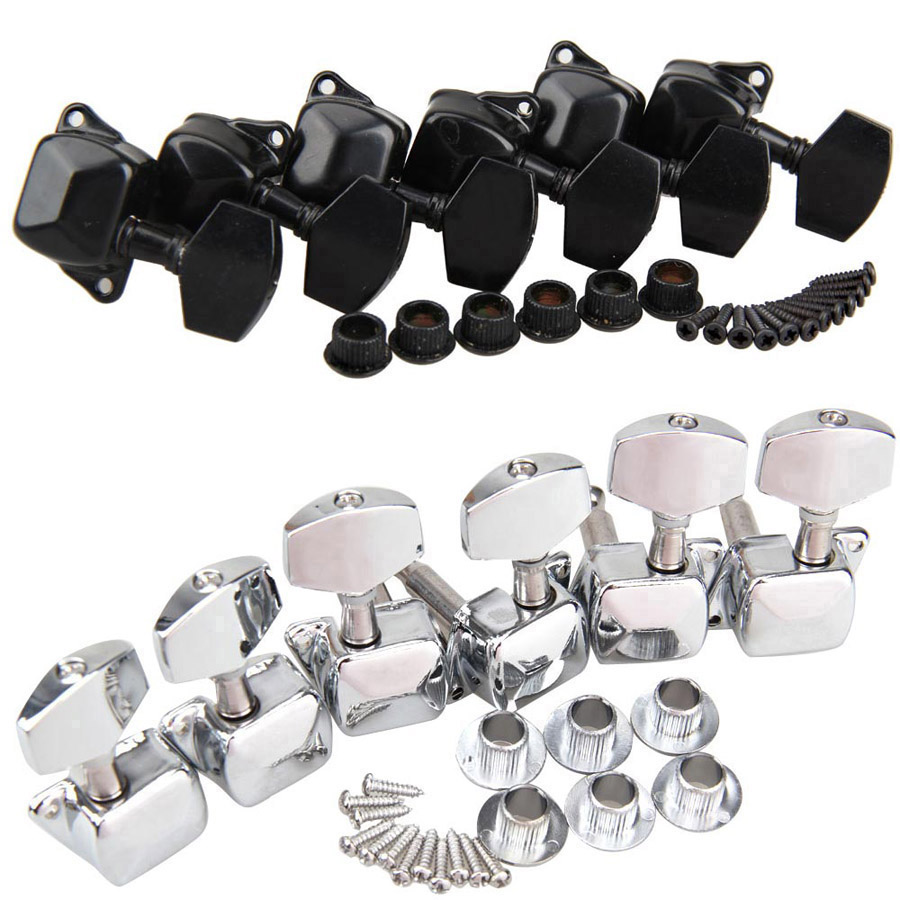 Chrome 3x3 Semiclosed Tuning Pegs Machine Heads for Acoustic Guitar 2 Colors 3 Right + 3 Left Tuning Pegs High Quality