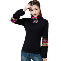 2017 Spring Autumn Women Tops Tees High Quality Long Sleeve Robe Body T Shirt Cotton Embroidery