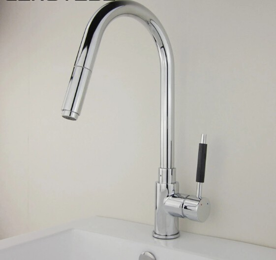 new arrival High quality chrome finish hot and cold single lever brass kitchen faucet with pull