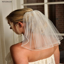Short Bridal Veils Tulle Beaded With Comb One Layer Shoulder Length Veil for Bride White Ivory Wedding Womens Velo Novia
