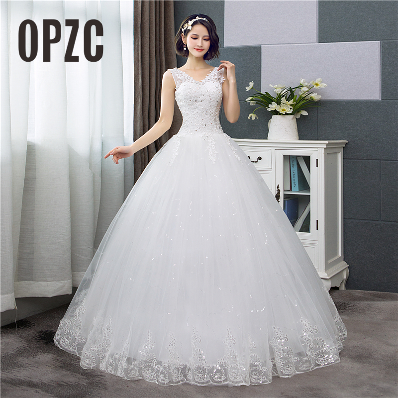 Korean Style V-Neck Lace Tank Sleeveless Floral Print Ball Gown Wedding Dress 2018 New Fashion Simple Estidos De Noivas CC