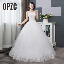 Korean Style V-Neck Lace Tank Sleeveless Floral Print Ball Gown Wedding Dress 2018 New Fashion Simple estidos de noivas CC
