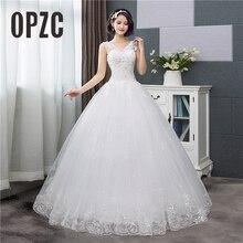 Korean Style V Neck Lace Tank Sleeveless Floral Print Ball Gown Wedding Dress 2020 New Fashion Simple estidos de noivas CC