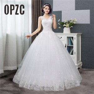 Image 1 - Koreanischen Stil V ausschnitt Spitze Tank Ärmelloses Blumen Druck Ballkleid Hochzeit Kleid 2020 Neue Mode Einfache estidos de noivas CC