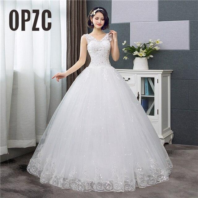 Koreanischen Stil V ausschnitt Spitze Tank Ärmelloses Blumen Druck Ballkleid Hochzeit Kleid 2020 Neue Mode Einfache estidos de noivas CC