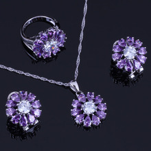 Terrific Purple Cubic Zirconia White CZ 925 Sterling Silver Jewelry Sets For Women Earrings Pendant Chain Ring V0309