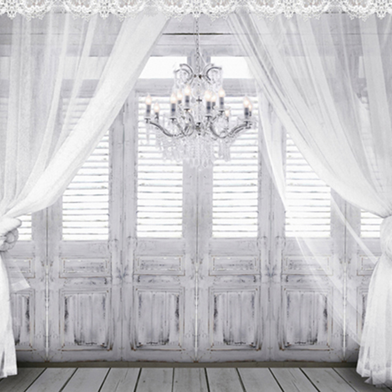 Droplight In Vintage Romantic Gray Room Wooden Floor White Curtain Wood  Window Door Wedding Photography Backdrops 150cm*200cm In Background From  Consumer ...