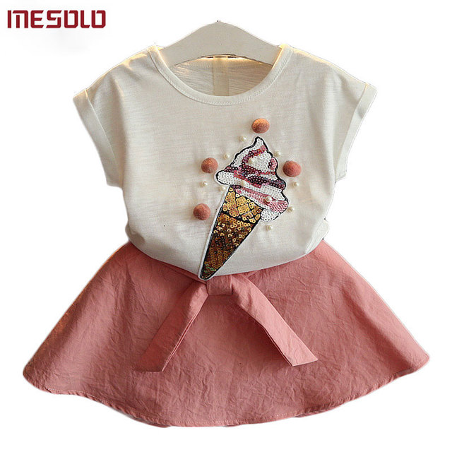 80c53adb405 MESOLOThe new summer 2018 girls lovely cone short sleeve T-shirt + bust  skirt suit 2 piece suit OK1111 B