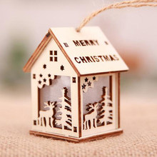 Kaigelin Mini Glow Wooden House Christmas Lights LED Christmas Tree Hanging Ornaments Lamp Xmas Party Decoration Kids Gift(China)