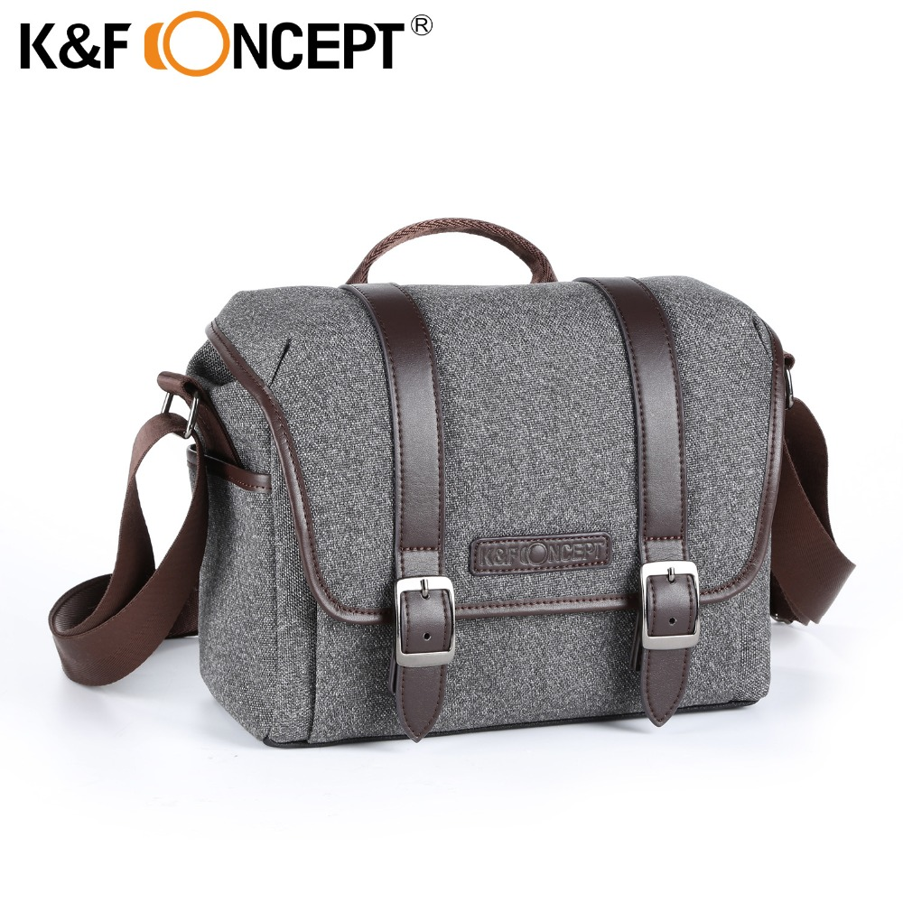 K&F CONCEPT Camera Bag DSLR Shoulder Bag S Size Waterproof Unisex Modern Casual Style Removable Divider Anti-slip bottom Grey