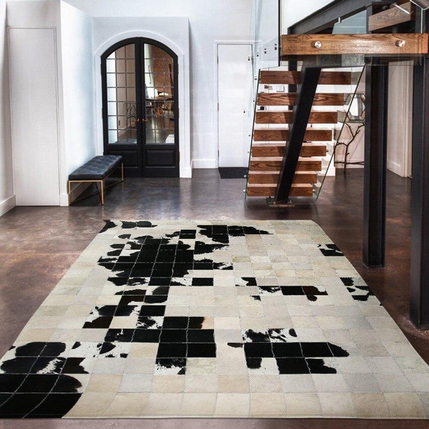 Tapis patchwork en peau de vache de style américain, tapis de fourrure de peau de vache naturel véritable de grande taille, tapis de bureau décoratif de tapis de salon
