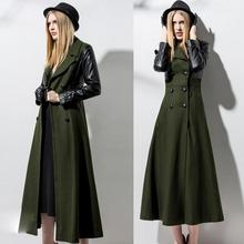 2016 autumn winter women Long double-breasted wool coat PU stitching long-sleeved jacket Overcoat
