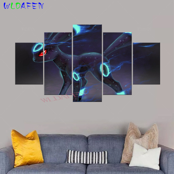 Canvas Art HD Print Animation Posters 5 Pieces Pokemon Monster Modular Painting Framework Pictures for Living Room Home Decor