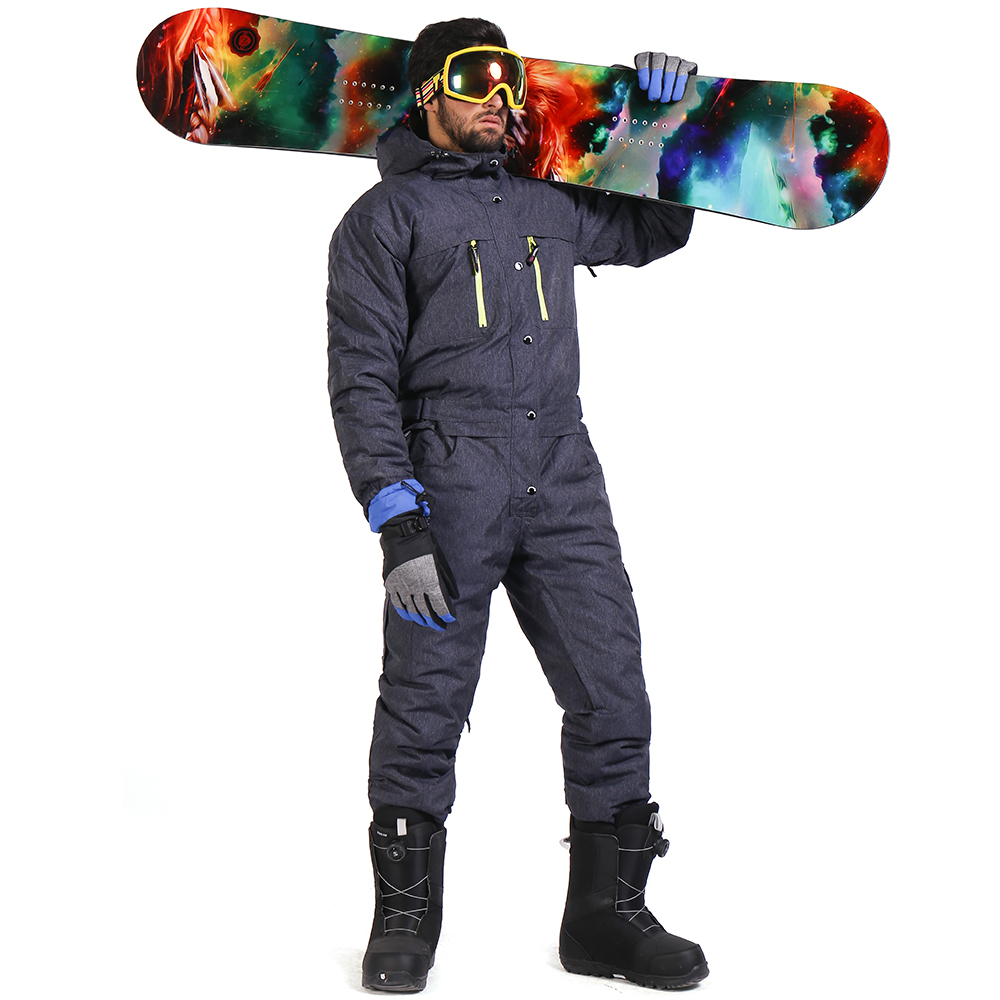 Saenshing One Piece Ski Suit Men Waterproof Thicken Snowboard Jacket Ski Jumpsuit Outdoor Snow Mountain Skiing Suits Winter Warm