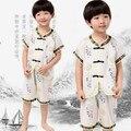 Традиционный Китайский Одежда детская Костюм С Коротким Рукавом Летом Мальчики Китайский Народный Танец Тай-Чи Кунг-Фу Тан Костюм