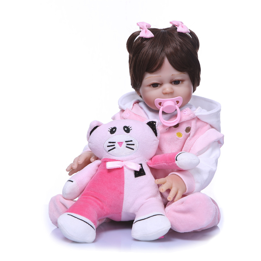 Nicery 20inch 50cm Bebe Reborn Doll Hard Silicone Boy Girl Toy Reborn Baby Doll Gift for Children Pink Clothes Cat Doll nicery 18inch 45cm reborn baby doll magnetic mouth soft silicone lifelike girl toy gift for children christmas pink hat close