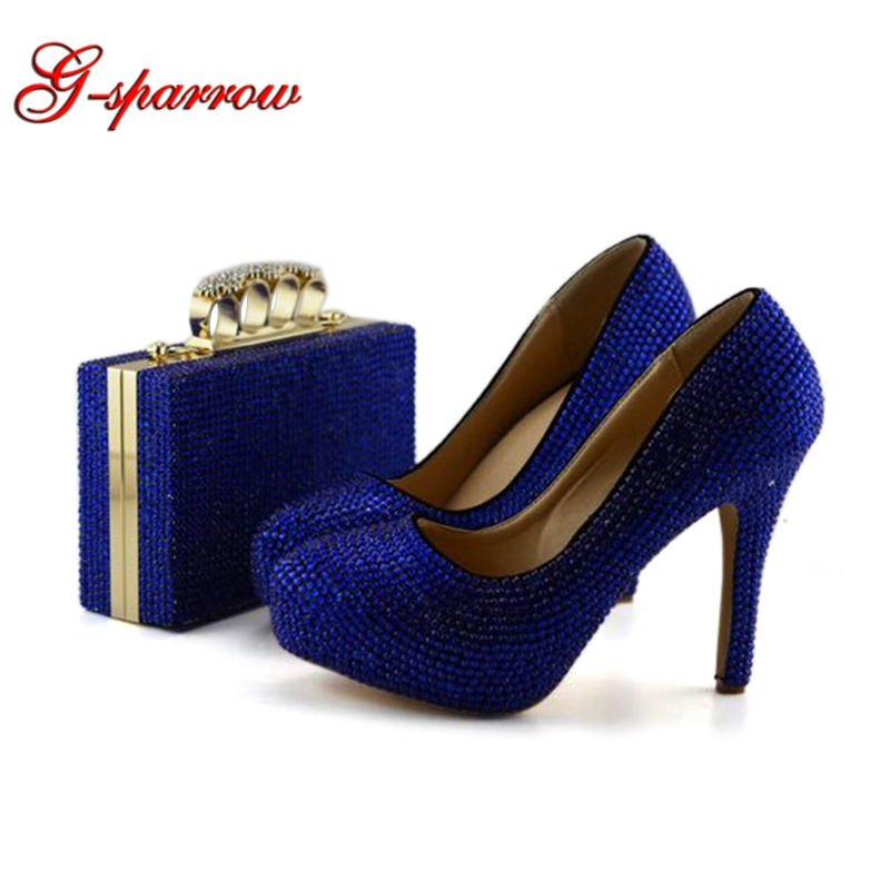 2019 Handmade Women Rhinestone Party Pumps Royal Blue Crystal Wedding Shoes with Matching Purse Evening Dress