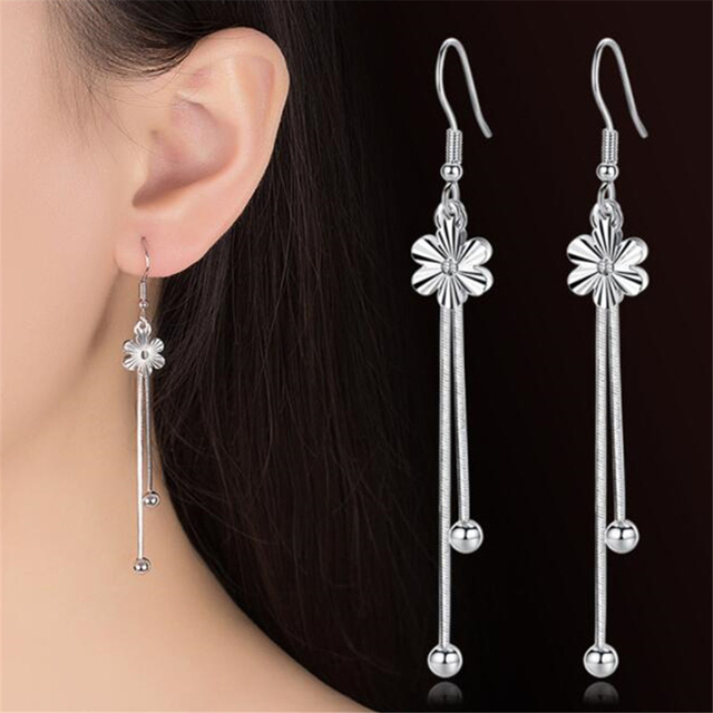 2018 Flower Tels In The Long Paragraph Simple Temperament Sweet Silver Earrings Plum Drop Women S