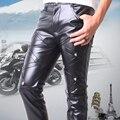 Pantalones Flacos 2015 de Los Hombres de Cuero de LA PU de Cuero de imitación de Cuero de Los Hombres Pantalones de Los Hombres Calientes Aptitud de Los Hombres Ocasionales Flacos Pantalones De Cuero Negro
