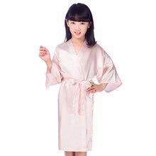 Детская розовая из искусственного шелка халат детей кимоно юката платье подружки невесты для девочек в цветочек Халаты платье ребенок ночная рубашка для малышей Домашняя одежда ja15