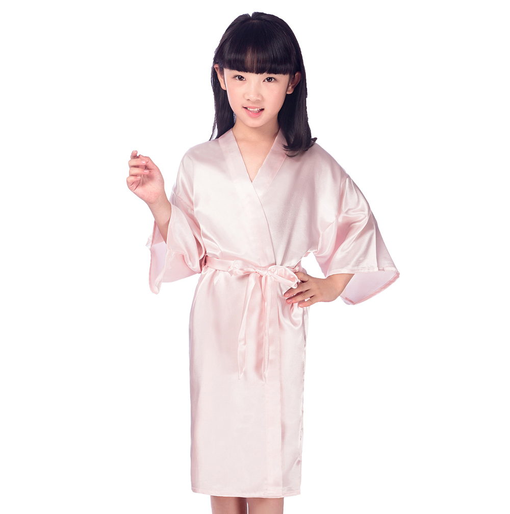 Kids Pink Faux Silk Robe Children Kimono Yukata Gown Bridesmaid Flower Girl Robes Dress Child Nightgown Babies Home Wear JA15