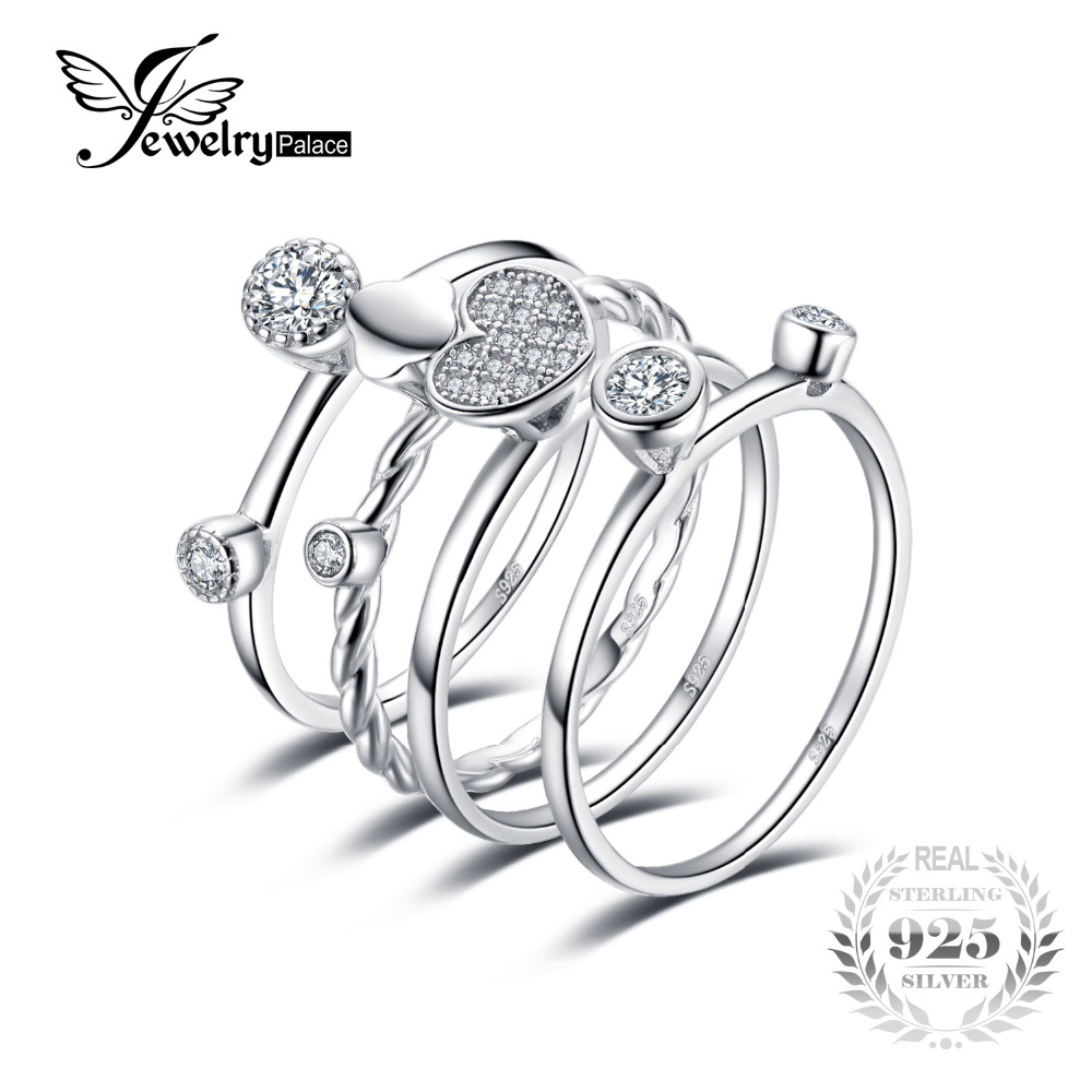 JewelryPalace Heart Love Anniversary Engagement Wedding Band 4 Ring Sets Real 925 Sterling Silver Jewelry Gift