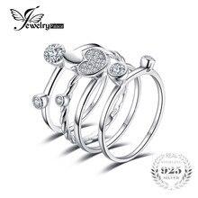 Jewelrypalace сердце любовь Юбилей Обручение обручальное 4 кольца Наборы реальные 925 пробы Серебряные ювелирные изделия подарок на день матери